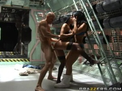 Jayden James and Audrey Bitoni getting pussy fucked in space outfit