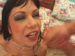 Alluring Angelina Crow makes her mouth dribble with more cum