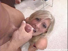 Jizz lover Carmen Kinsley enjoys the taste of cock sauce in her mouth like candy