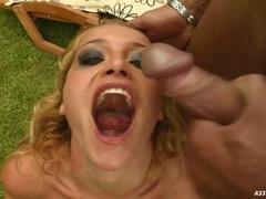 Juicy bitch Kathia Nobili receives a loadful of jizz filling in her sweet mouth