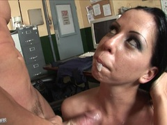 Lovely babe Larissa Dee receives a rich jizzpop on her mouth
