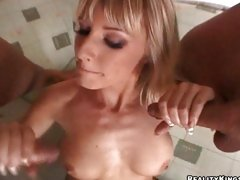 Natalli Di Angelo Double Pumps Two Hard Cock Milking Them On Her Tits