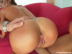 Euro pornstar Daria Glowergetting her twat cracked by a huge cock on the couch