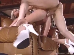 Tempting hottie Michelle B gets her tight snatch boned by a cock on the couch