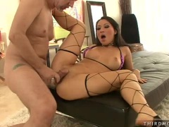 Netted whore Asa Akira gets her pussy thumped by a rock hard cock