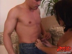 Booby babe Trinity shows her stud her talents in blowing a cock