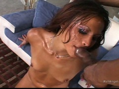 Cock crazy Jayna Oso gets her face all covered with cock juice