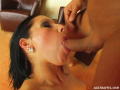 Rockin hot Nikki Rider gets her sweet mouth whacked hard by a thick cock