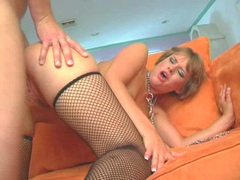Sexy slut Claire Robbins getting her twat cracked by a monster cock on the couch