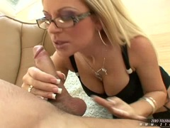 Filthy blonde hooker Ahryan Astyn gets her mouth hooked up on a meaty cock