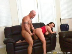 Chunky whore Brandy Taylor enjoys a cock plowing on her tight slits