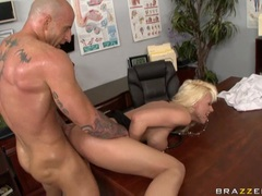 Lusty babe Tanya James receives a load of cock spurt on her mouth
