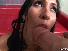 Alluring cum lover Isis Love swapping a slimey cock load in her friend's mouth