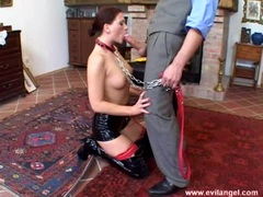 Sexy sex slave Jessica Fiorentino blocks her mouth with a meaty hot cock