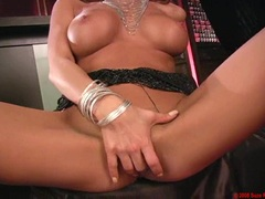 Busty blondie Lisa Daniels thumps those filthy fingers hard in her sweet snatch