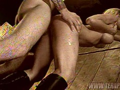 Sexy blonde Angie Savage gets her tight twat rammed hard by a cock from behind