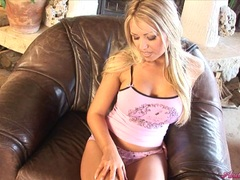 Horny booby Anette Dawn getting hot with her awsomely firm jugs