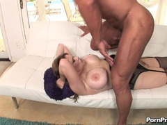 Titty whore Lynn Lemay gets her pussy thumped hard by a blackdong