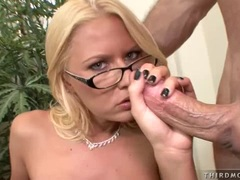 Sexy hot whore Riley Evans taking a meaty cock in her mouth and enjoys it