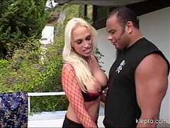 Horny blonde slut Nikki Hunter blocks her filthy mouth with a monster cock