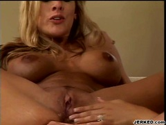 Lusty blonde Julie Knight pushes her ass deeper on a thick cock
