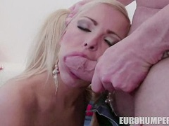 Blonde sweetheart Nicky Angel gets her mouth busy sucking a hard man lollipop