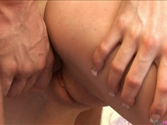 Young pornstar Katie Gold sipping on a cumming cock and enjoys it a lot