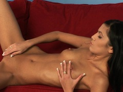 Skinny hot nymph Pure Angel touches herself on the couch naked