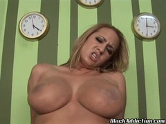 Sultry honey Trina Michaels receiving a warm load of cum in her mouth