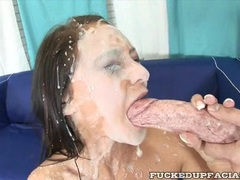 Horny cock lover Jessica Valentino receives a milky splash of cum on her face