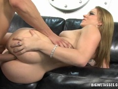 Horny blonde babe Kirra Lynne getting assfucked by a meaty cock on the couch