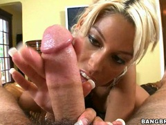 Horny blonde babe Bridgette B lustily jerks a cock in her fist until it blows on