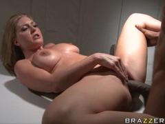 Slutty bitch Avy Scott gets plowed on her twat by a monstrous black cock