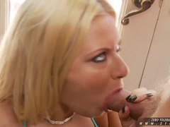 Lusty white chick Riley Evans stuffs her mouth with a massively stiff meatpole