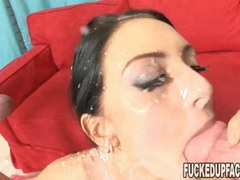 Horny brunette Stephanie Kane receives an awesome explosion all over her face