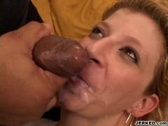 Hot curvy momma Sara Jay receives a hot blast of cum splashing on her mouth