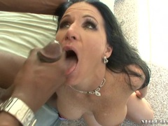 Titty hot whore Kendra Secrets receives a warm spurt of cum on her lusty mouth