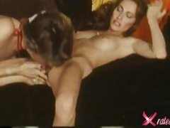 Sexy lesbians Loni Sanders and stunning brunette get down munching furry muff
