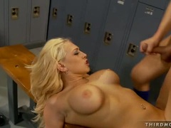 Busty Kagney Karter receives a milky load of man cream on her mouth