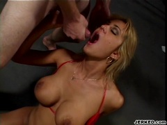 Slutty babe Trina Michaels opens her mouth for an awesome jizz blast