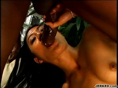Horny naked slut Lyla Lei gets her cracks sprayed with goo after a nice round