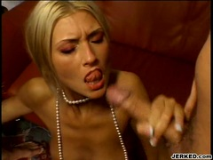 Bitchy Lisa Rose receives a warm spray of cock sauce on her filthy mouth