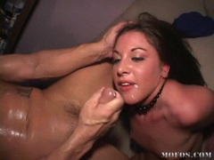 Horny naked slut Karmen Kennedy receives a hot ooze of cock spurt on her mouth