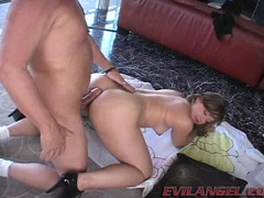 Busty sweet Leenuh Rae deliciously munches her lover's cock with all pleasure