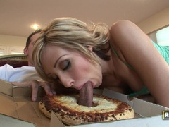 Big breasted Jessica Lynn enjoys her pizza's special topping til she chokes