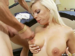 Bitchy hot Britney Amber gets cummed on her healthy round boobies