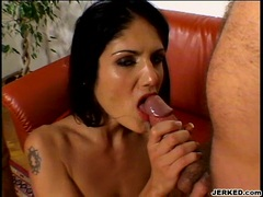 Cum craving honey Sarah Twain receives an oozing cream of cock on her mouth