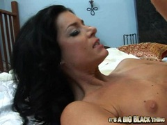 Lovely hot milf India Summers gets plowed hard by a blackdong in bed naked