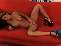 Beautiful Nicole Grey plays with her shaved pussy using a toy until she cums
