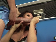 Hottie Jenna Presley alternately takes two monster boners in and out her mouth